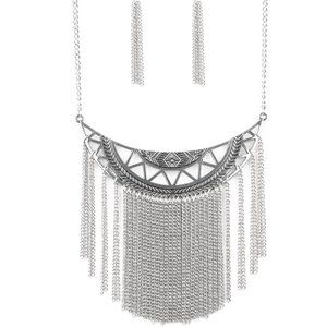 Jewelry - Empress Excursion Silver Fringe Statement Necklace